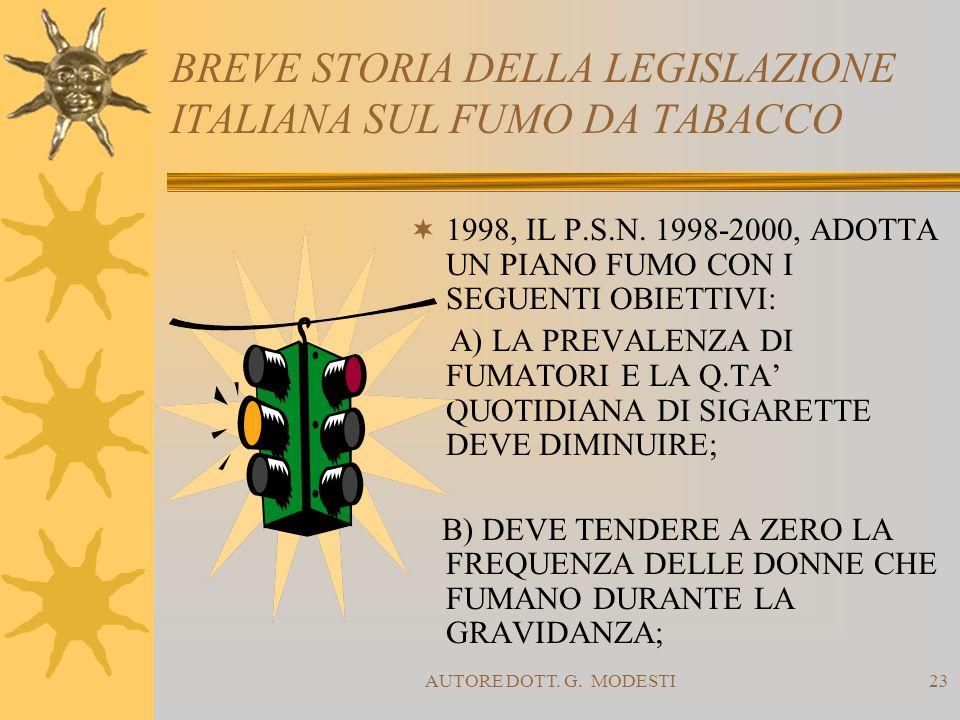 AUTORE DOTT. G. MODESTI23 BREVE STORIA DELLA LEGISLAZIONE ITALIANA SUL FUMO DA TABACCO 1998, IL P.S.N. 1998-2000, ADOTTA UN PIANO FUMO CON I SEGUENTI