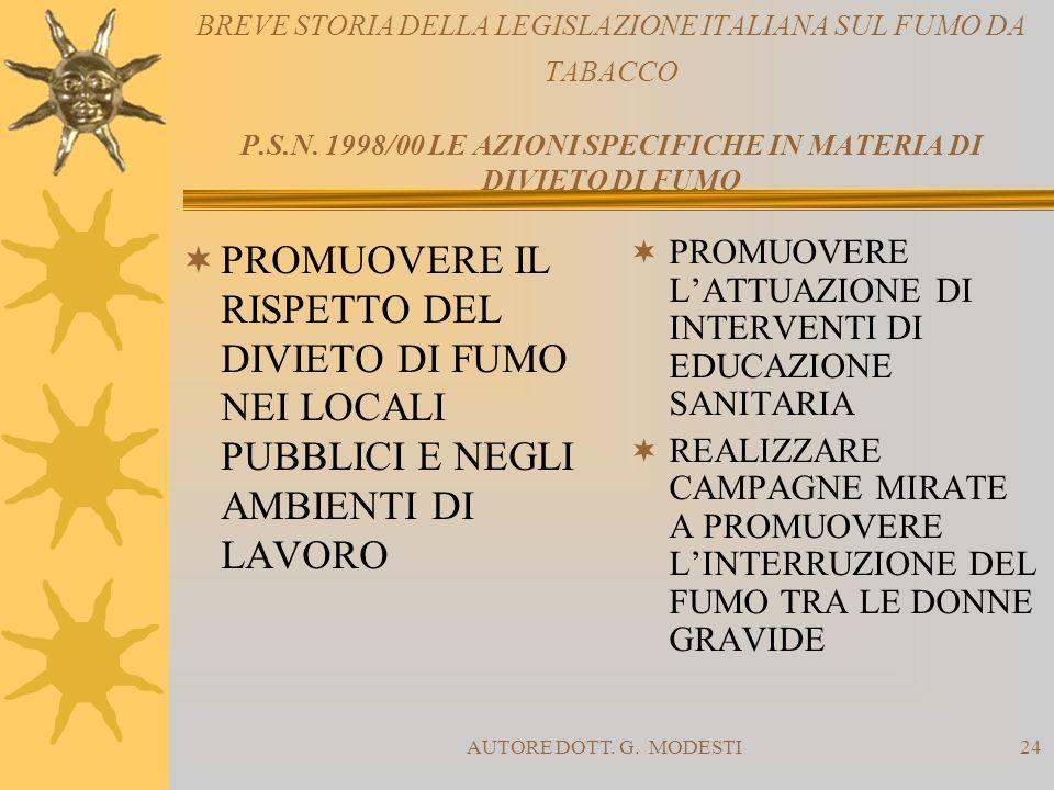 AUTORE DOTT. G. MODESTI24 BREVE STORIA DELLA LEGISLAZIONE ITALIANA SUL FUMO DA TABACCO P.S.N. 1998/00 LE AZIONI SPECIFICHE IN MATERIA DI DIVIETO DI FU