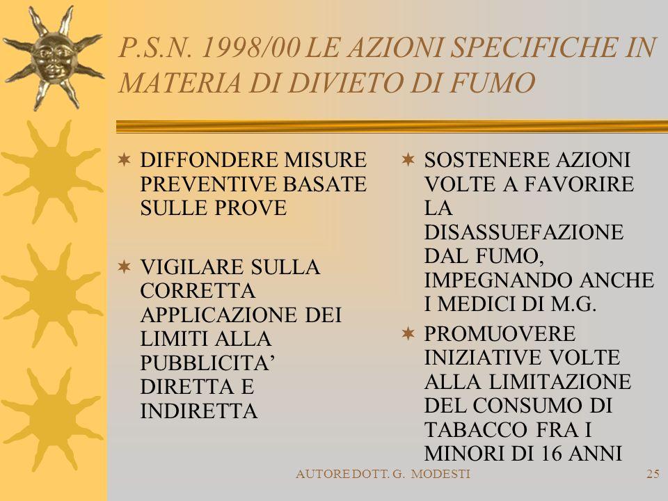 AUTORE DOTT. G. MODESTI25 P.S.N. 1998/00 LE AZIONI SPECIFICHE IN MATERIA DI DIVIETO DI FUMO DIFFONDERE MISURE PREVENTIVE BASATE SULLE PROVE VIGILARE S