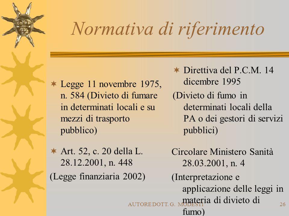 AUTORE DOTT. G. MODESTI26 Normativa di riferimento Legge 11 novembre 1975, n. 584 (Divieto di fumare in determinati locali e su mezzi di trasporto pub