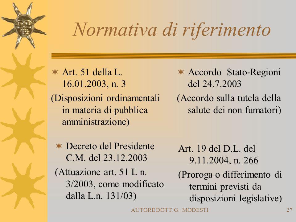 AUTORE DOTT. G. MODESTI27 Normativa di riferimento Art. 51 della L. 16.01.2003, n. 3 (Disposizioni ordinamentali in materia di pubblica amministrazion