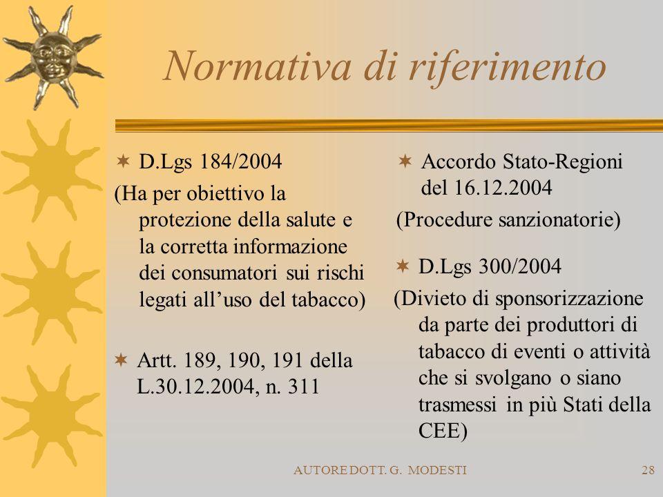 AUTORE DOTT. G. MODESTI28 Normativa di riferimento D.Lgs 184/2004 (Ha per obiettivo la protezione della salute e la corretta informazione dei consumat