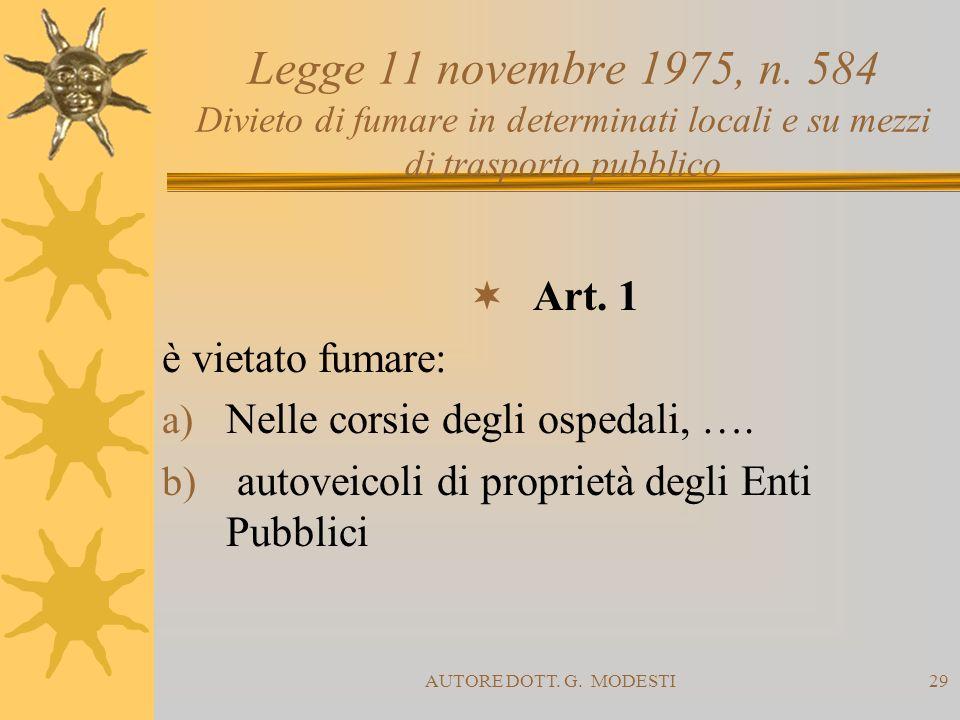 AUTORE DOTT. G. MODESTI29 Legge 11 novembre 1975, n. 584 Divieto di fumare in determinati locali e su mezzi di trasporto pubblico Art. 1 è vietato fum