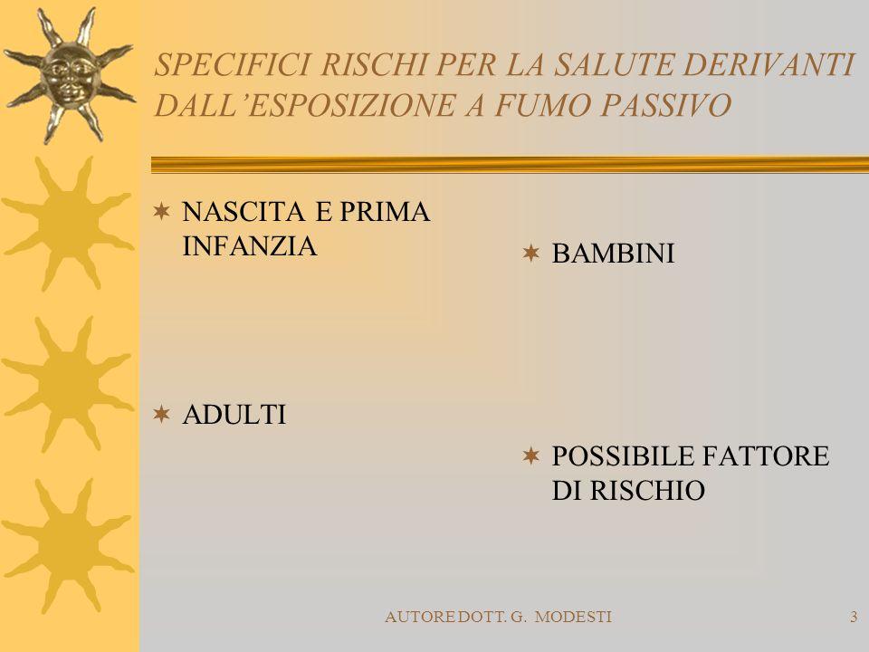 AUTORE DOTT. G. MODESTI3 SPECIFICI RISCHI PER LA SALUTE DERIVANTI DALLESPOSIZIONE A FUMO PASSIVO NASCITA E PRIMA INFANZIA BAMBINI ADULTI POSSIBILE FAT