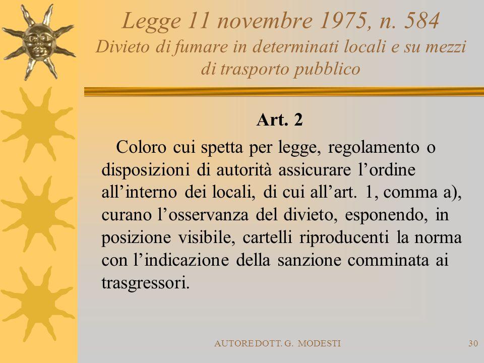 AUTORE DOTT. G. MODESTI30 Legge 11 novembre 1975, n. 584 Divieto di fumare in determinati locali e su mezzi di trasporto pubblico Art. 2 Coloro cui sp