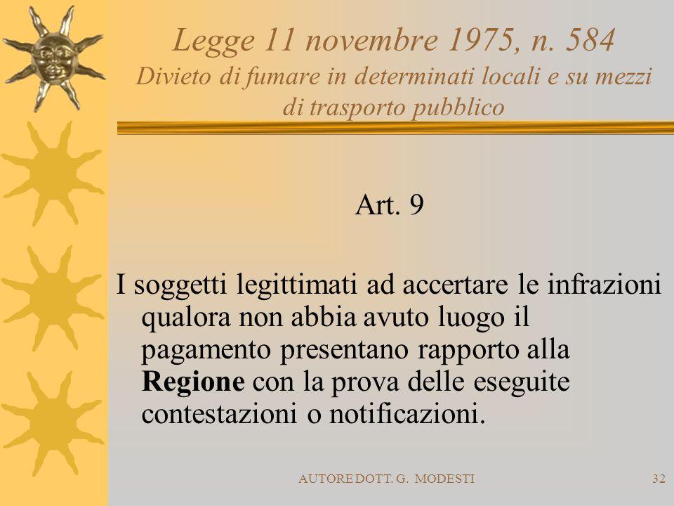 AUTORE DOTT. G. MODESTI32 Legge 11 novembre 1975, n. 584 Divieto di fumare in determinati locali e su mezzi di trasporto pubblico Art. 9 I soggetti le