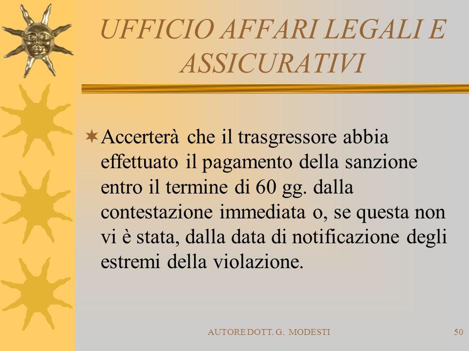 AUTORE DOTT. G. MODESTI50 UFFICIO AFFARI LEGALI E ASSICURATIVI Accerterà che il trasgressore abbia effettuato il pagamento della sanzione entro il ter