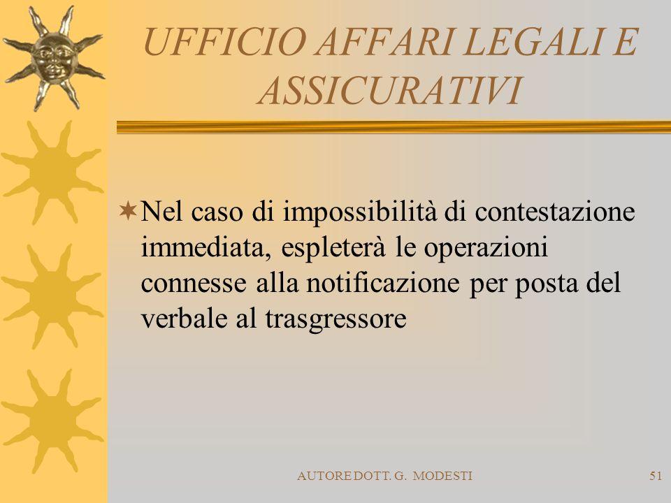 AUTORE DOTT. G. MODESTI51 UFFICIO AFFARI LEGALI E ASSICURATIVI Nel caso di impossibilità di contestazione immediata, espleterà le operazioni connesse