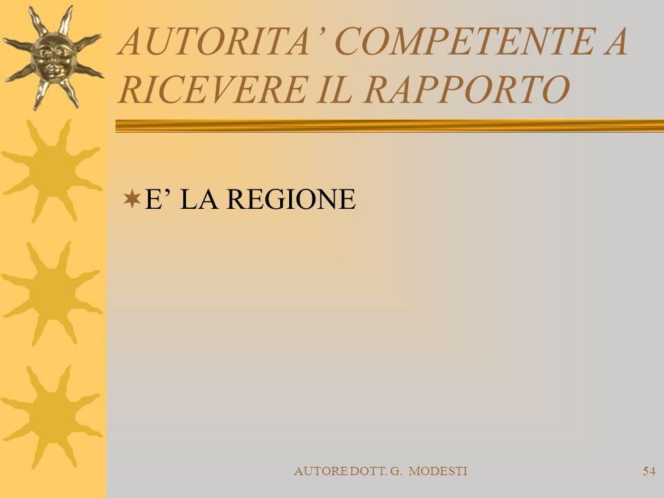 AUTORE DOTT. G. MODESTI54 AUTORITA COMPETENTE A RICEVERE IL RAPPORTO E LA REGIONE