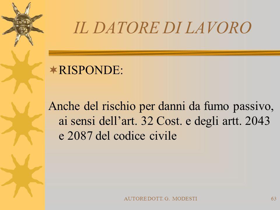 AUTORE DOTT. G. MODESTI63 IL DATORE DI LAVORO RISPONDE: Anche del rischio per danni da fumo passivo, ai sensi dellart. 32 Cost. e degli artt. 2043 e 2