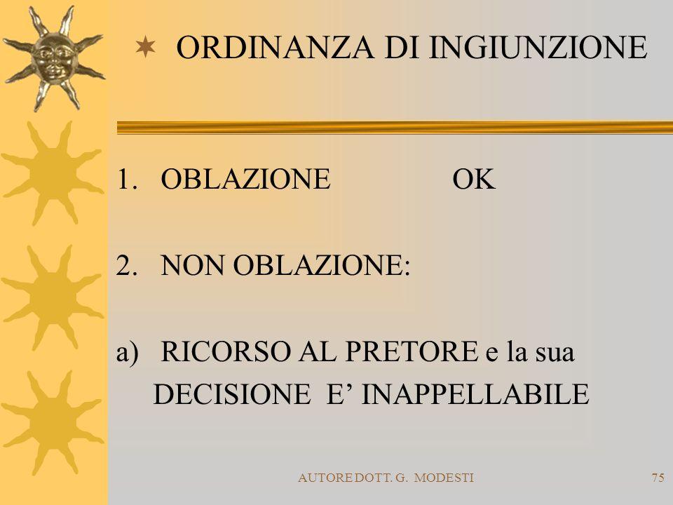 AUTORE DOTT. G. MODESTI75 ORDINANZA DI INGIUNZIONE 1.OBLAZIONEOK 2.NON OBLAZIONE: a) RICORSO AL PRETORE e la sua DECISIONE E INAPPELLABILE