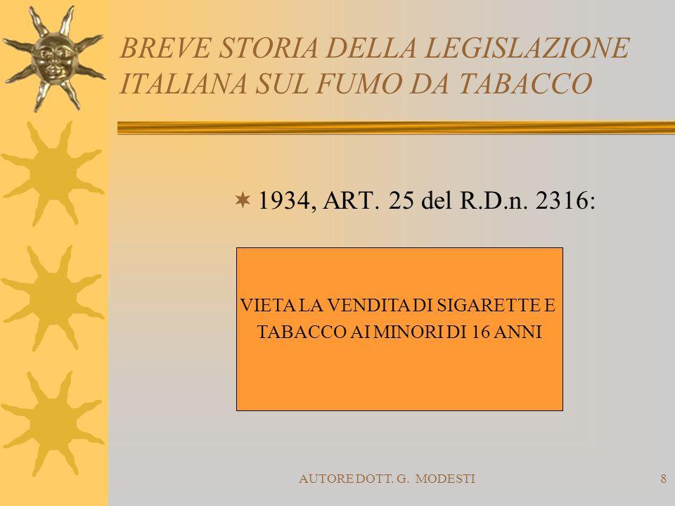 AUTORE DOTT. G. MODESTI8 BREVE STORIA DELLA LEGISLAZIONE ITALIANA SUL FUMO DA TABACCO 1934, ART. 25 del R.D.n. 2316: VIETA LA VENDITA DI SIGARETTE E T