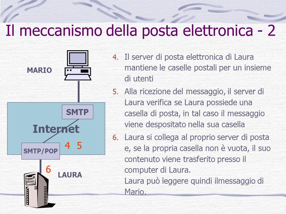 Il meccanismo della posta elettronica - 2 4. Il server di posta elettronica di Laura mantiene le caselle postali per un insieme di utenti 5. Alla rice