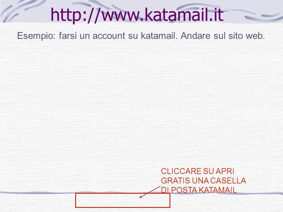 http://www.katamail.it Esempio: farsi un account su katamail. Andare sul sito web. CLICCARE SU APRI GRATIS UNA CASELLA DI POSTA KATAMAIL