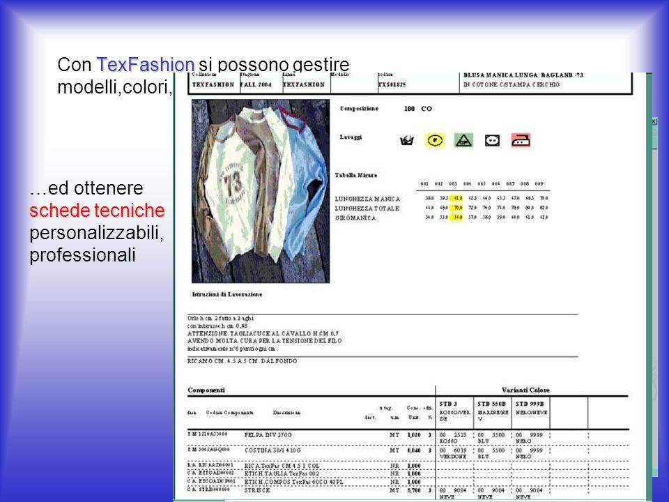TexFashion Con TexFashion si possono gestire modelli,colori,taglie,collezioni,stagioni..