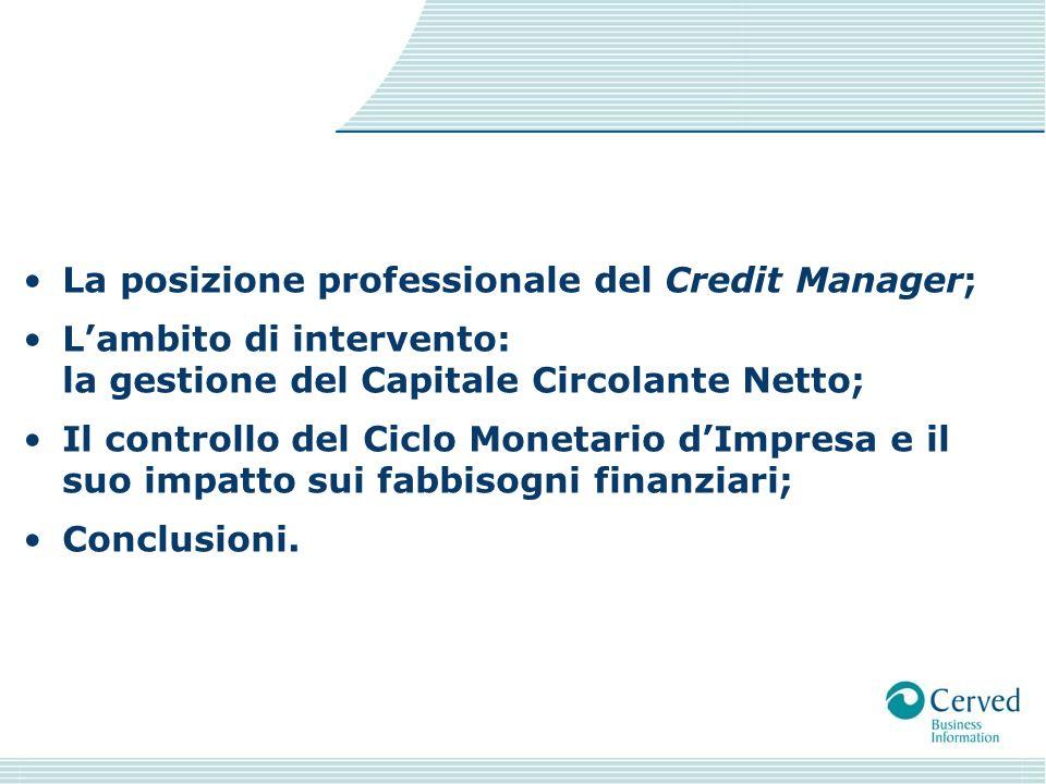 La posizione professionale del Credit Manager; Lambito di intervento: la gestione del Capitale Circolante Netto; Il controllo del Ciclo Monetario dImpresa e il suo impatto sui fabbisogni finanziari; Conclusioni.
