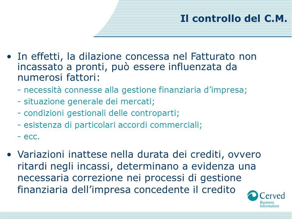 In effetti, la dilazione concessa nel Fatturato non incassato a pronti, può essere influenzata da numerosi fattori: - necessità connesse alla gestione