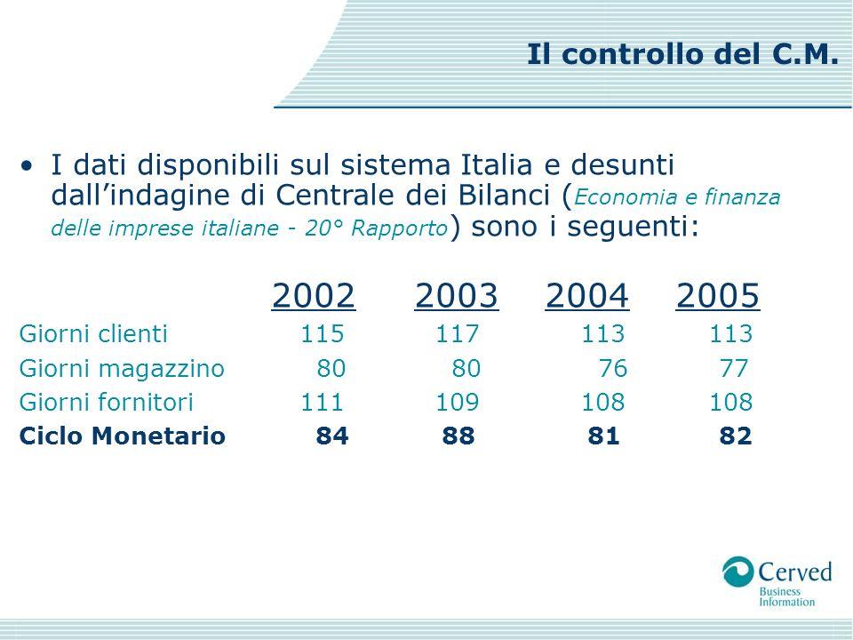 I dati disponibili sul sistema Italia e desunti dallindagine di Centrale dei Bilanci ( Economia e finanza delle imprese italiane - 20° Rapporto ) sono