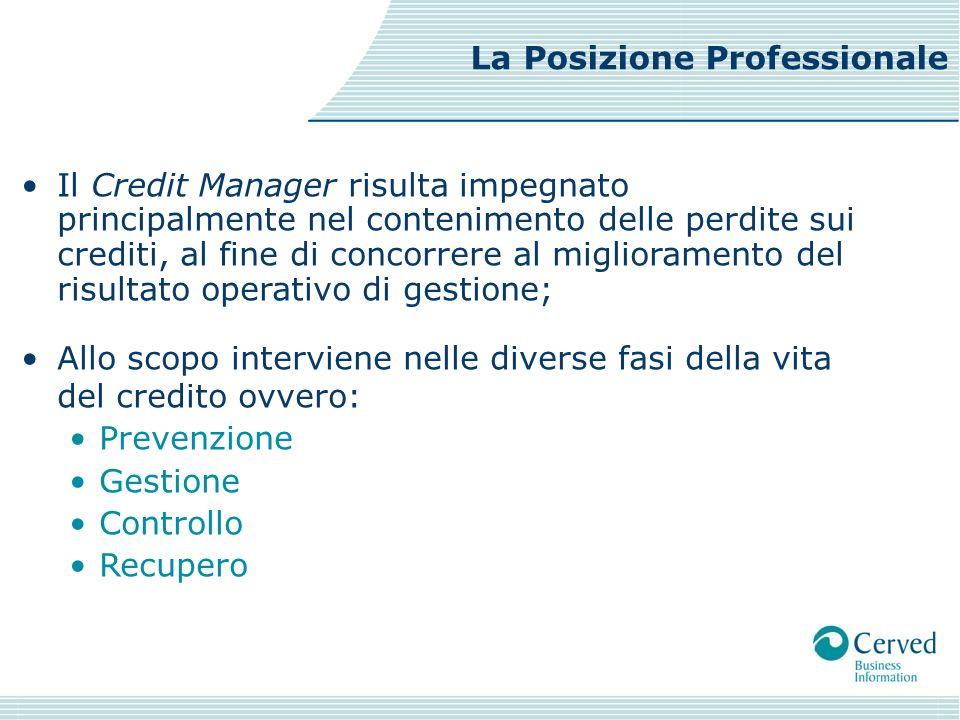 Il Credit Manager risulta impegnato principalmente nel contenimento delle perdite sui crediti, al fine di concorrere al miglioramento del risultato op