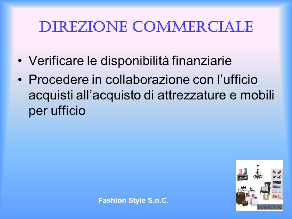 Direzione commerciale Verificare le disponibilità finanziarie Procedere in collaborazione con lufficio acquisti allacquisto di attrezzature e mobili p