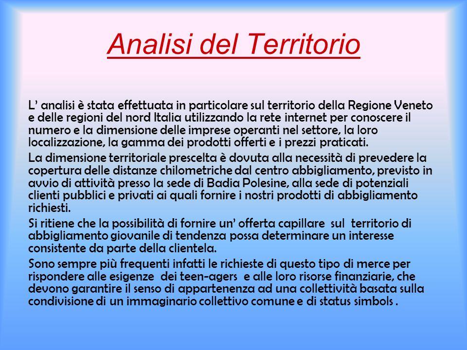 Analisi del Territorio L analisi è stata effettuata in particolare sul territorio della Regione Veneto e delle regioni del nord Italia utilizzando la