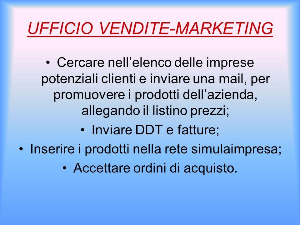 UFFICIO VENDITE-MARKETING Cercare nellelenco delle imprese potenziali clienti e inviare una mail, per promuovere i prodotti dellazienda, allegando il