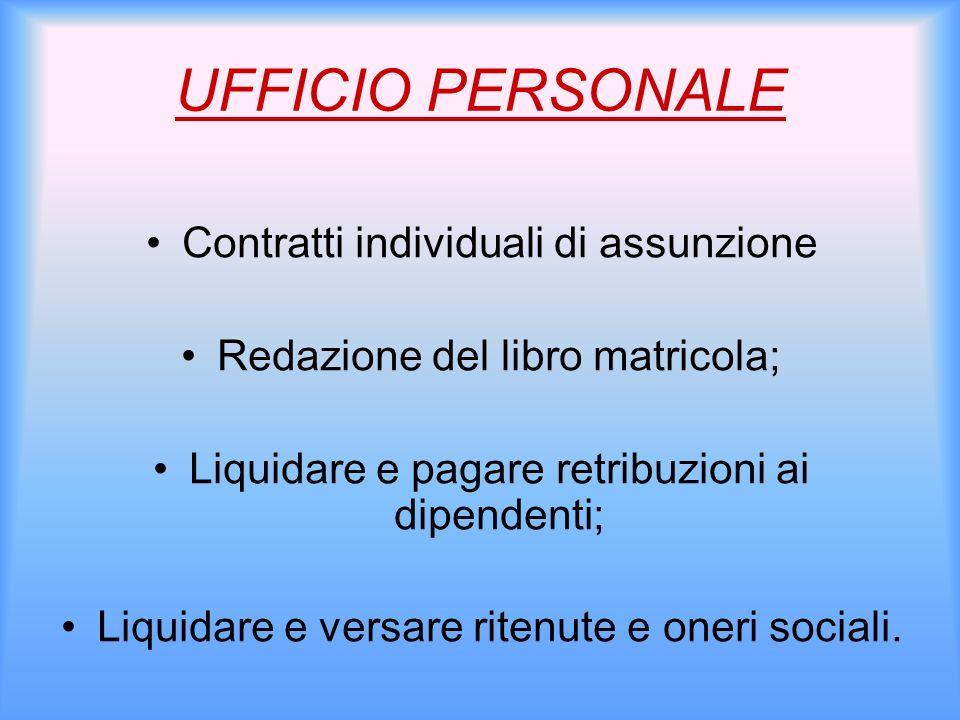 UFFICIO PERSONALE Contratti individuali di assunzione Redazione del libro matricola; Liquidare e pagare retribuzioni ai dipendenti; Liquidare e versar