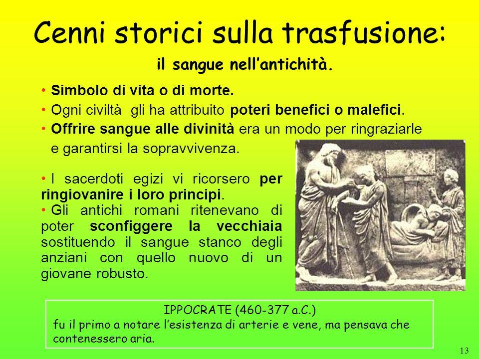 13 Cenni storici sulla trasfusione: Simbolo di vita o di morte. Ogni civiltà gli ha attribuito poteri benefici o malefici. Offrire sangue alle divinit
