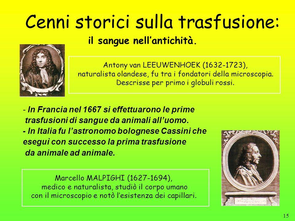 15 Cenni storici sulla trasfusione: - In Francia nel 1667 si effettuarono le prime trasfusioni di sangue da animali alluomo. - In Italia fu lastronomo