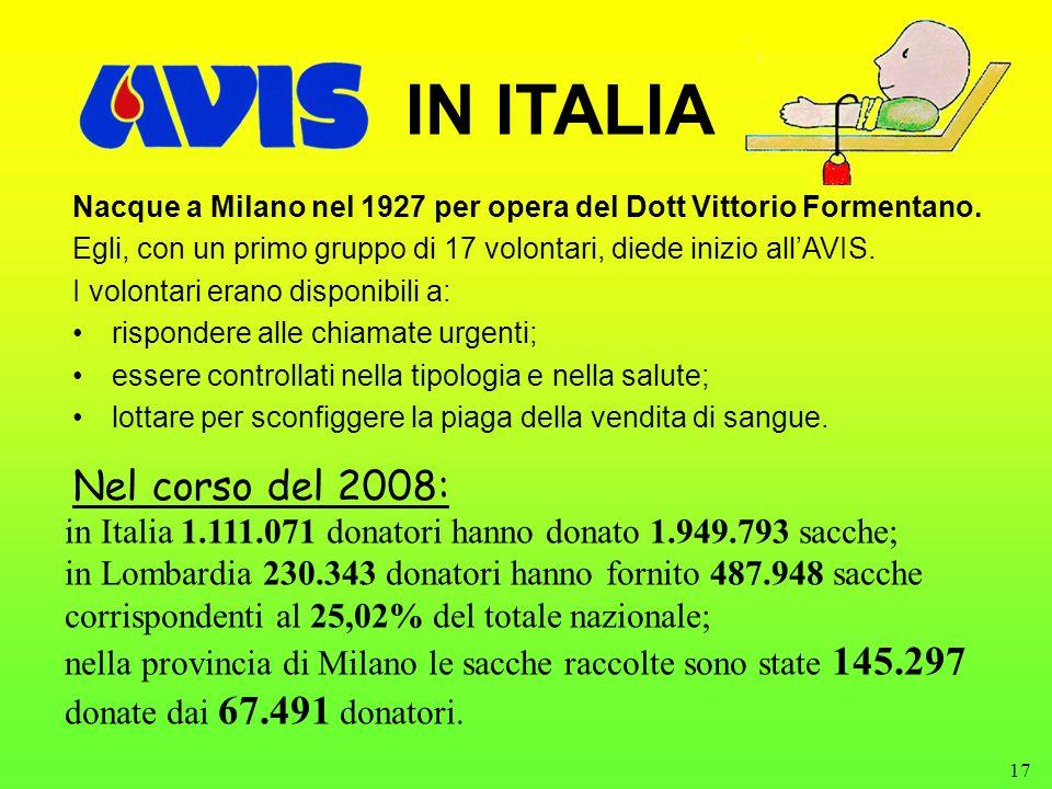 17 IN ITALIA Nacque a Milano nel 1927 per opera del Dott Vittorio Formentano. Egli, con un primo gruppo di 17 volontari, diede inizio allAVIS. I volon