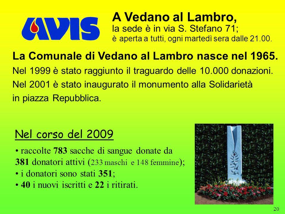 20 A Vedano al Lambro, la sede è in via S. Stefano 71; è aperta a tutti, ogni martedì sera dalle 21.00. La Comunale di Vedano al Lambro nasce nel 1965
