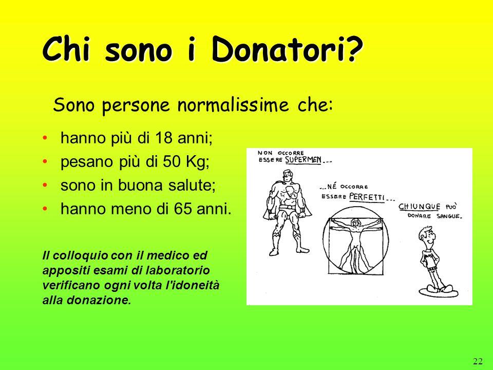 22 Chi sono i Donatori? hanno più di 18 anni; pesano più di 50 Kg; sono in buona salute; hanno meno di 65 anni. Sono persone normalissime che: Il coll