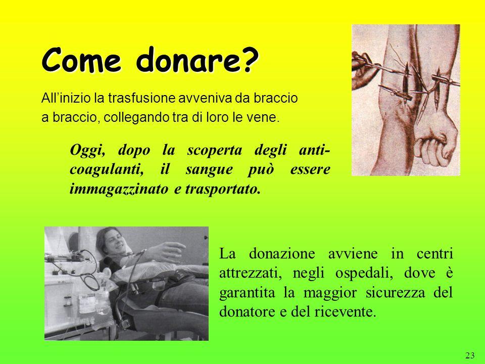 23 Come donare? Allinizio la trasfusione avveniva da braccio a braccio, collegando tra di loro le vene. La donazione avviene in centri attrezzati, neg