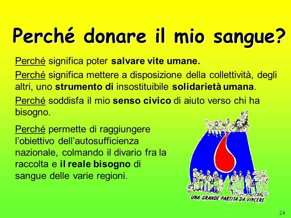 24 Perché donare il mio sangue? Perché significa poter salvare vite umane. Perché significa mettere a disposizione della collettività, degli altri, un