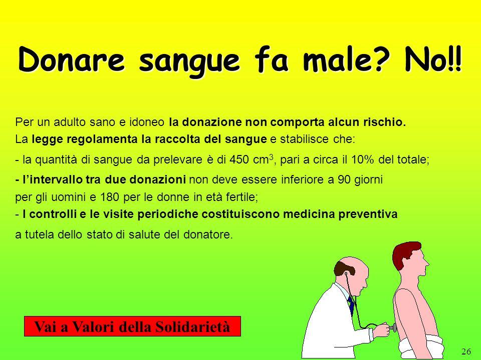 26 Donare sangue fa male? No!! Per un adulto sano e idoneo la donazione non comporta alcun rischio. La legge regolamenta la raccolta del sangue e stab