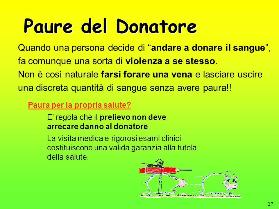 27 Paure del Donatore Quando una persona decide di andare a donare il sangue, fa comunque una sorta di violenza a se stesso. Non è così naturale farsi
