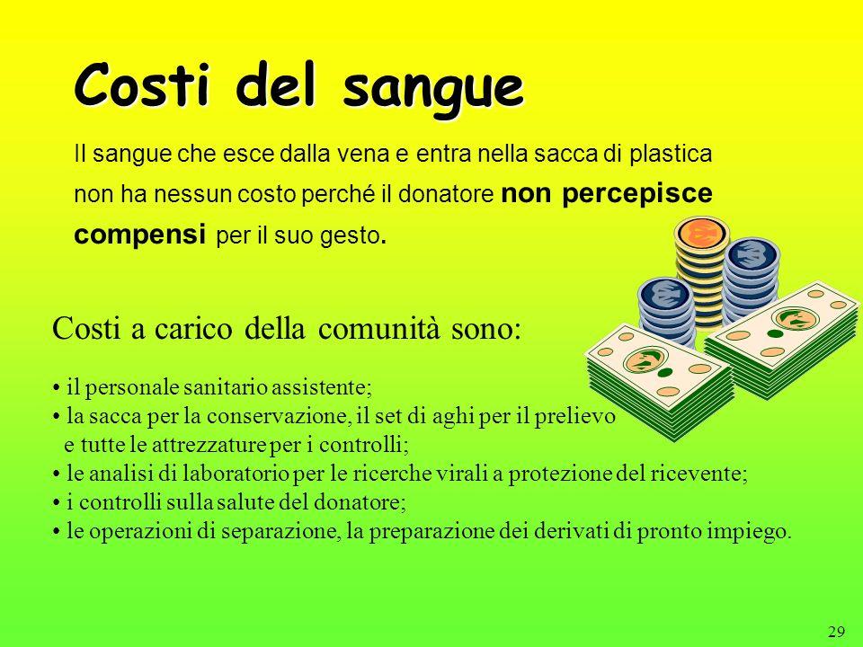 29 Costi del sangue Il sangue che esce dalla vena e entra nella sacca di plastica non ha nessun costo perché il donatore non percepisce compensi per i
