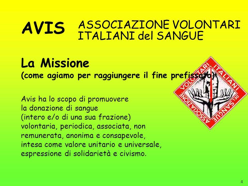 4 La Missione (come agiamo per raggiungere il fine prefissato) ASSOCIAZIONE VOLONTARI ITALIANI del SANGUE Avis ha lo scopo di promuovere la donazione