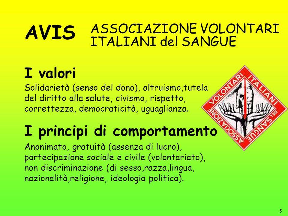 5 I valori ASSOCIAZIONE VOLONTARI ITALIANI del SANGUE Solidarietà (senso del dono), altruismo,tutela del diritto alla salute, civismo, rispetto, corre