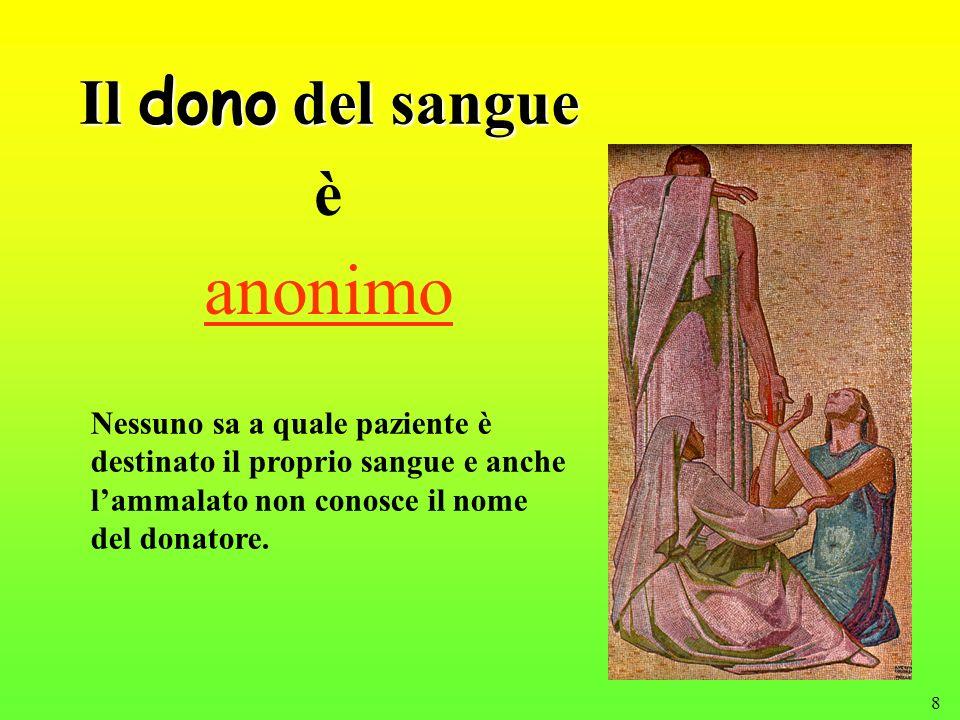 8 Il dono del sangue anonimo Nessuno sa a quale paziente è destinato il proprio sangue e anche lammalato non conosce il nome del donatore. è