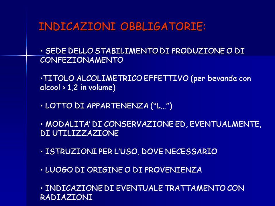 INDICAZIONI OBBLIGATORIE: DENOMINAZIONE DI VENDITA (es. olio doliva, preparato per torte) ELENCO INGREDIENTI (in ordine di peso decrescente, acqua inc