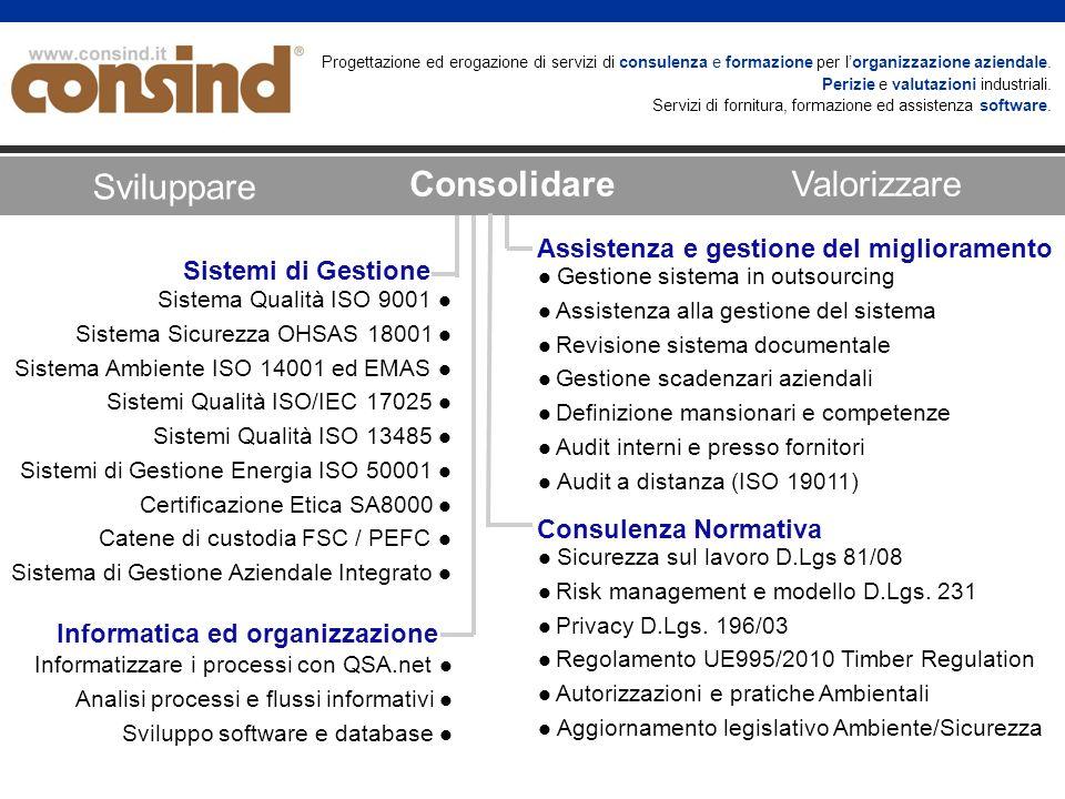 Assistenza e gestione del miglioramento Informatica ed organizzazione Sistema Qualità ISO 9001 Sistema Sicurezza OHSAS 18001 Sistema Ambiente ISO 1400