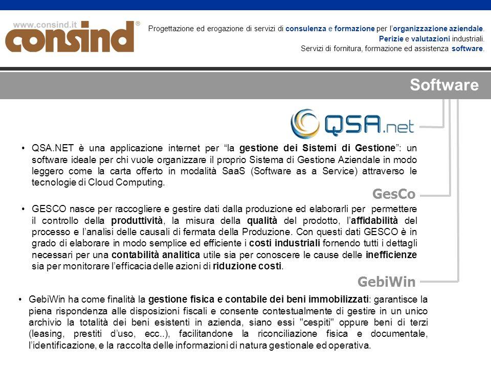 GesCo GebiWin QSA.NET è una applicazione internet per la gestione dei Sistemi di Gestione: un software ideale per chi vuole organizzare il proprio Sistema di Gestione Aziendale in modo leggero come la carta offerto in modalità SaaS (Software as a Service) attraverso le tecnologie di Cloud Computing.