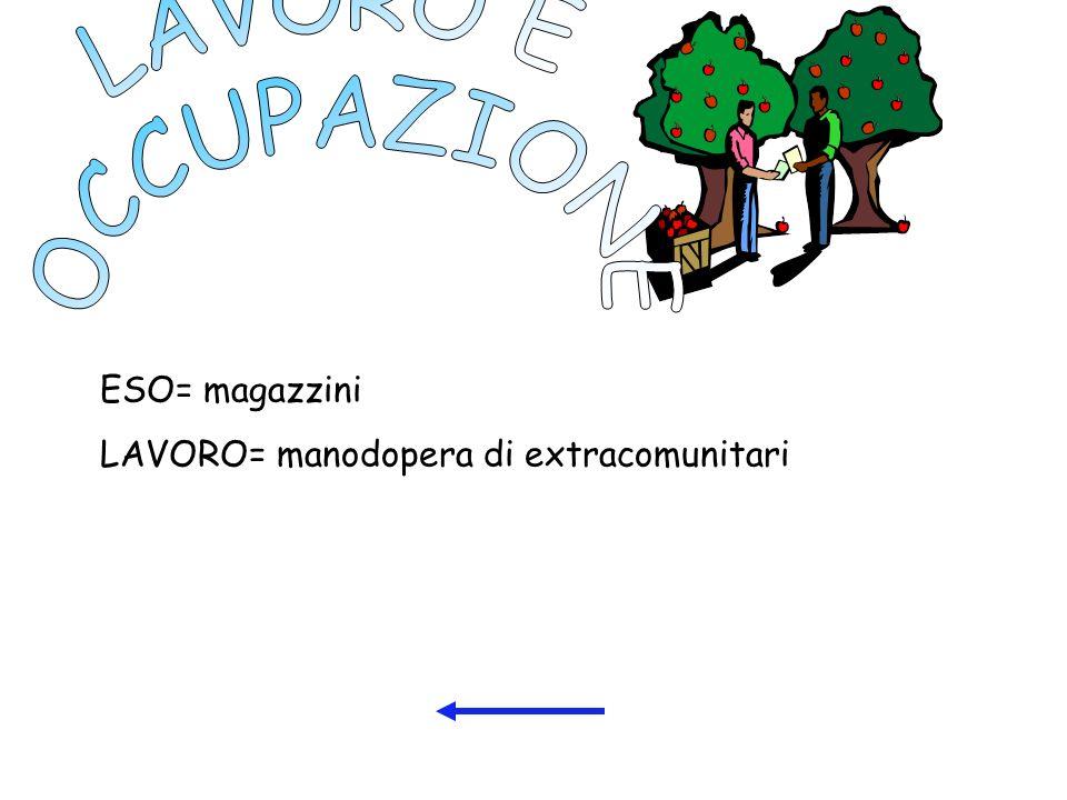 ESO= magazzini LAVORO= manodopera di extracomunitari