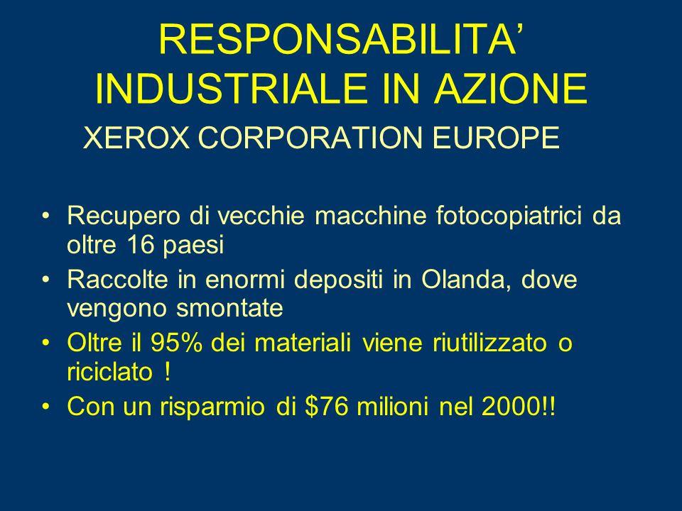 RESPONSABILITA INDUSTRIALE IN AZIONE XEROX CORPORATION EUROPE Recupero di vecchie macchine fotocopiatrici da oltre 16 paesi Raccolte in enormi depositi in Olanda, dove vengono smontate Oltre il 95% dei materiali viene riutilizzato o riciclato .