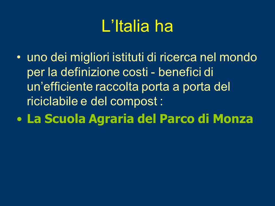 LItalia ha uno dei migliori istituti di ricerca nel mondo per la definizione costi - benefici di unefficiente raccolta porta a porta del riciclabile e