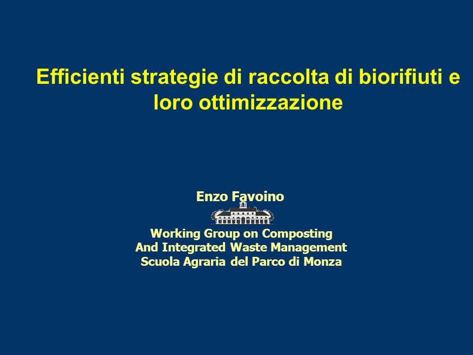 Efficienti strategie di raccolta di biorifiuti e loro ottimizzazione Enzo Favoino Working Group on Composting And Integrated Waste Management Scuola Agraria del Parco di Monza