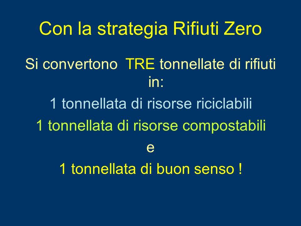 Con la strategia Rifiuti Zero Si convertono TRE tonnellate di rifiuti in: 1 tonnellata di risorse riciclabili 1 tonnellata di risorse compostabili e 1 tonnellata di buon senso !