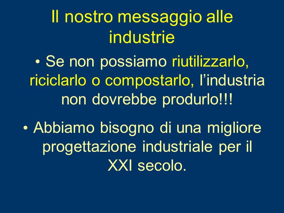 Il nostro messaggio alle industrie Se non possiamo riutilizzarlo, riciclarlo o compostarlo, lindustria non dovrebbe produrlo!!.