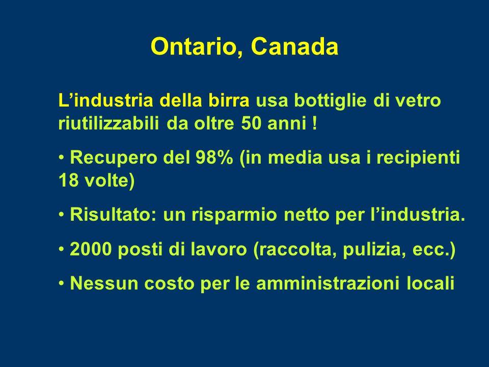 Ontario, Canada Lindustria della birra usa bottiglie di vetro riutilizzabili da oltre 50 anni ! Recupero del 98% (in media usa i recipienti 18 volte)